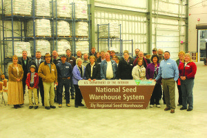 Local and state officials, community members and BLM officials celebrate the opening of the seed warehouse. (Lukas Eggen photo)