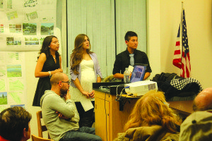 Students Arely Lopez, Mirella Garcia and Tanner Chee present projects to the community. (Lukas Eggen photos)