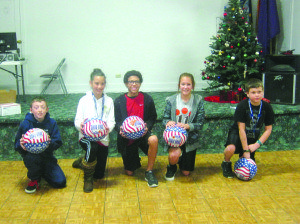 Three boys and three girls, ages 8 to 13 won the first round of competition in the Elks National Hoop Shoot Free Throw contest at White Pine High School on Saturday and were named local lodge champions. Pictured:  Remington Osburn, Eva Kingston, Warren Thierry, Shea Simon, and Sage Dutson.  Not pictured: Haylee Hendrix. (Courtesy photo)