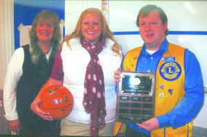 From left, Sharyl Allen, principal White Pine Middle School; Krystal Smith, and Stephen Bishop, president Ely Lions Club. (Courtesy photo)