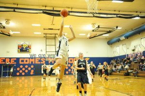 Ashlyn Huntington goes for a layup in the Ladycats blowout 54-19 win over Silver Stage on Jan. 25. The Ladycats have now won their last seven games in a row and are in second place in their league. (BJ Almberg Photo)