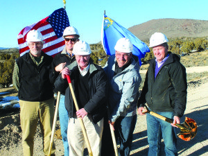 Midway Gold's CEO Ken Brunk and his board of directors hold the shovels used at the ground breaking of their new Pan Mine project.  (Garrett Estrada photo)