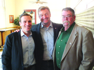 Adam Laxalt, a candidate for Nevada Attorney General, standing with U.S. Sen. Dean Heller and State Sen. Pete Goicoechea. (Garrett Estrada photo)