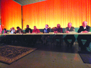 The Ely City Council met in the Ely Central theater on Feb. 13 to accommodate the large crowd that came out to speak about the railroad. (Garrett Estrada photo)