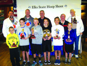 From left in the back row: Steve McBride, Nevada State Hoop Shoot Director; Al Babb, North District; Dee Boskie, Nevada Elks State President; Ron Welsh, South Director; Bud Lemmond, Central Director, past State Director.  From left, front row: Thomas Burchett, Carson City; Matt Boyd, Mesquite; Will Boyden, Sparks; Sage Dutson, Ely; Eva Kingston, Ely; Haylee Hendrix, Ely