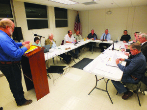 Mark Bassett went over the railroads financials Tuesday night with the Ely City Council and the railroad's management board. (Garrett Estrada Photo)