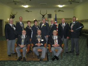 Pictured from left to right (front row) Bill Thompson, Sid Beckwith and Bill Bogoger.  (Back row) Frank Latta, Tommy Johnson, Bunny Hill, Gayle Bartlett, Beverly Cornutt, Duane Lerch, Dan Cornutt and Allan Laffery. (Ken Curto photo)
