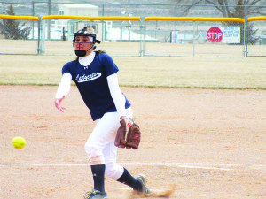 Alli Huntington threw a no-hitter in a 21-0 win against North Tahoe in the team's first home game of the season. (Garrett Estrada photo)