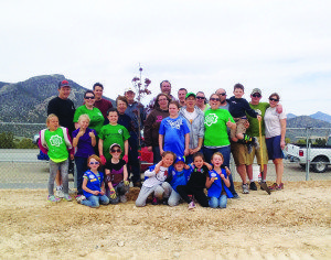 Courtesy photo The Girls Scouts showed up to help plant trees outside the Ely Aquatic Center on Arbor Day.