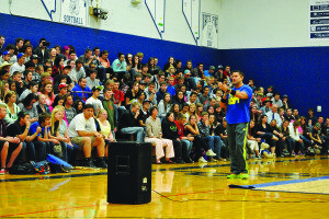 Courtesy photo Dean Johnson talked about anti-bullying at White Pine High School on Tuesday morning. He also spoke at the middle and elemantary schools and the Colony Gym.