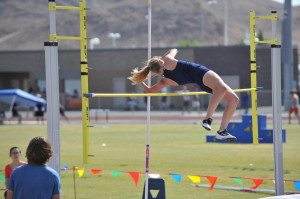 Emil Almberg Photo Mikalyn Almberg pole vaults at the divisional meet in Las Vegas.