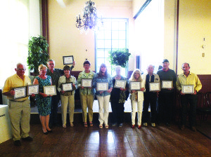 Garrett Estrada Photo Representatives who received the certificates from left to right are: Tom Bath, Margret Bath, Ed Spear, Virginia Terry, Melody Van Camp, Toni Polack, Carol McKenzie, Dany Feinstein Rod McKenzie, Gary Cook and Ernie Flangas.