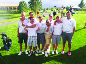 Adam Young Photo White Pine High School's Varsity golf team from the State Championship meet held in Pahrump from left to right: State Champion Chris Young, Nick Johnson, Bryce Evverett, Seth Robertson, Justin Kirchner, Coach Randy Long, Tyler Kane and Ty Pickel.