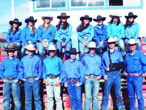 Courtesy photo Members of the White Pine High School rodeo club pictured: Back row — Delaynie Ward, Jamie Wines, Madison Panagopolous, Catherine Odgers, Sadie Leyba, Amy Wines, Shay Zeman, Sierra Hyde. Front row — Ryan McKnight, Ryan Benson, Wyatt Jordan, Mason Bostic, Austin Zeman, Justis Kelly, Chuck Odgers