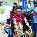 A 76-year-old member of the Shoshone Tribe began Sunday's events. (Garrett Estrada photo)