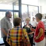 State Controller and candidate for State treasurer Kim Wallin meets with Mayor Melodie Van Camp and City Councilman Bruce Setterstrom and his wife Pat at a meet and greet on July 24. (Garrett Estrada photo)y