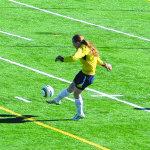 Multisport athlete Amanda Allred kicks a ball away from the goal at a White Pine High School soccer game. Garrett Estrada photo