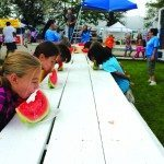 Children participate in the watermelon eating contest at last year's White Pine County Fair. (Lukas Eggan/Ely Times photo)