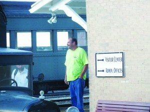 City Councilman Bruce Setterstrom walks out of the railroad offices Tuesday night. (Garrett Estrada photo)