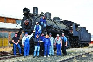 Nevada Northern Railway Executive Director Mark Bassett and his staff pose with Locomotive 81, which will take two-years and over a million dollars to restore to federal standards. (Courtesy photo)