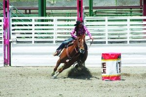 Eighth grader TeAnna Green runs the barrels representing the Eureka Junior High Rodeo Club at the state finals in Winnemucca. (Courtesy photo)