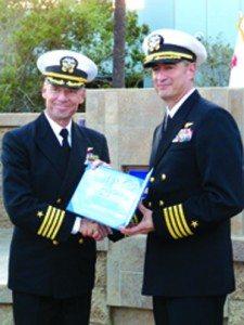 From left to right: Commanding Officer, U.S. third Fleet Captain Scott Jones congratulates Captain Jon Papez in San Diego on Nov. 15. (Courtesy photo)