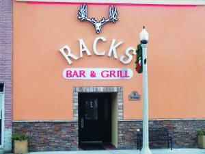 The entrance to Racks Bar and Grill has been remodeled with a sign and logo that light up at night over new paint and stacked stones.  (Garrett Estrada photo)