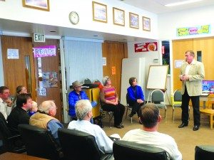 Elected U.S. Representative for Nevada's Fourth Congressional District Cresent Hardy speaks to a group of locals at a town hall meeting inside the White Pine Library on Dec. 13.  Garrett Estrada photo