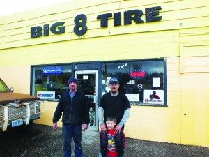 Pictured from left to right: Mechanic Jeff Crumley, Big 8 Tire owner Ronnie Barton and his son Travis Barton.  (Garrett Estrada photo)