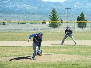 Kade Britton throws a pitch to Mountain View while his brother Colton Britton waits patiently at second base. (Garrett Estrada photo)