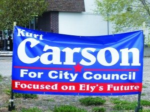 Campaign signs posted around Ely of the top four candidates coming out of Tuesday's primary election. (Garrett Estrada photo)