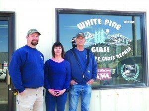 White Pine Glass co-owners from left to right: Brandon, JoLynn and Carl Jackson. (Garrett Estrada photo)