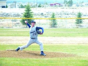 Colton Britton throws a pitch in the Bobcats home 9-7 win over Needles on Friday. (Garrett Estrada photo)