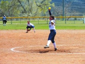 McKenna Windous throws a pitch in the Ladycats first game of a home double-header against Needles on Friday. (Garrett Estrada photo)