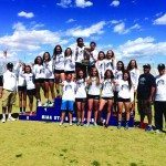 The White Pine High School Ladycat track team hold up their third straight state title championship at Del Sol High School on Saturday. (Courtesy photo)