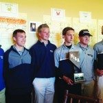 The State runner-up White Pine High School Golf team pose with their second place trophy on Tuesday in Incline.   (Adam Young photo)