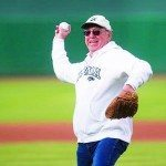 Jim Nelson throws the first pitch at a Reno Aces vs Nevada Baseball game. (Courtesy photo)