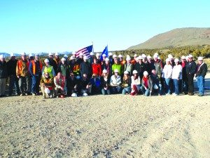 Midway Gold staff line up for a photo during better times for the ground breaking of the Pan Mine Project in January 2014. (Courtesy photo)