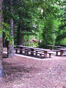 Picnic tables sit ready and waiting for campers at Timber Creek (Courtesy photos)