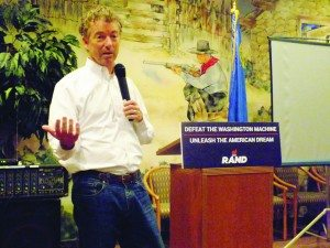 (Garrett Estrada photo) Rand Paul tells an audience at the Prospector Hotel about his belief in reducing the federal government's size and budget.