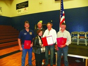 Teresa Stewart photo Donna Bath awards Certificates of Recogonition from Sen. Dean Heller's office for the White Pine War Memorial Foundation. Pictured left to right: Ed Sturges, Brent Rose, David Huckaby, Chris Dailey and Donna Bath.