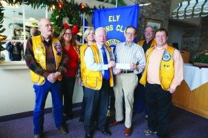 Courtesy photo Pictured (L-R):  Ely Lions Club President Glenn Terry, Melissa Brown, Annette Marshall, Robert Switzer, Secretary/Treasurer of the Ministerial Association Larry Dunton (also a long-serving Ely Lion), Kelly Brown, and Stephen Bishop.