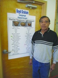 Ross Johnson photo Boyd Graham and his Shoshone vocabulary chart.