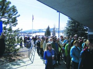 Ross Johnson photo Democrats line up outside White Pine High School on Feb. 20