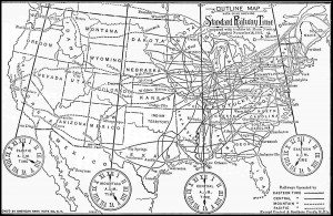 Courtesy photo A map showing the Standard Railway Time Zones as adopted November 18, 1883