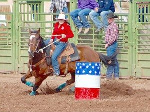 Courtesy photo Sadie Leyba running barrels at the Boulder City Rodeo.