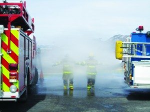 Ross Johnson photo Firefighters participating in hazardous materials training.