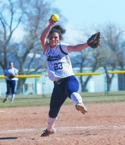 Bob Switzer photo Sophomore Britney Kingston delivers a pitch against Calvary Chapel on March 18.