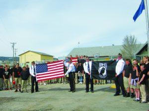 Courtesy photo American Legion flag presentation at Learning Bridge Charter School.