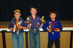 Courtesy photo The three overall winners from the District Pinewood Derby from left to right: second place Travis Petersen, first place Hyrum Horsley and third place David Roman.